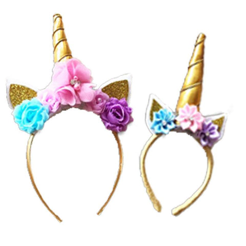 Pastel Flowers Unicorn Headband Gold Doll And Me