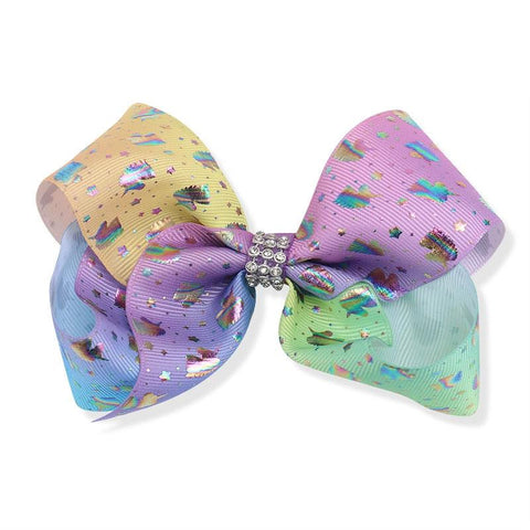 Pastel Ombre Holographic Unicorn Star Hair Bow 8 Inch