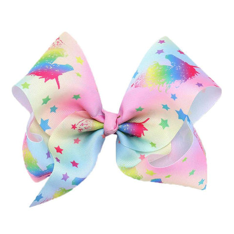 Pastel Rainbow Unicorn Star Hair Bow 8 Inch