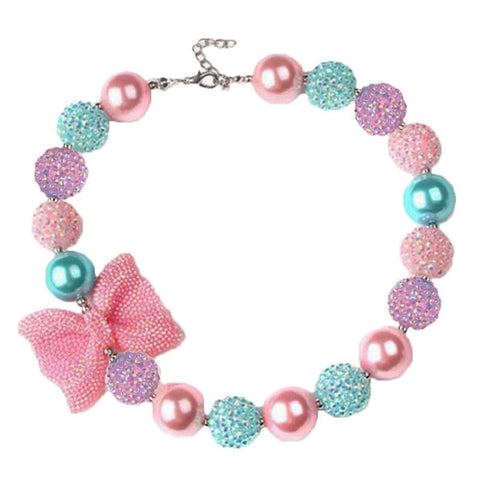 Pastel Sparkle Necklace Bow Chunky Gumball
