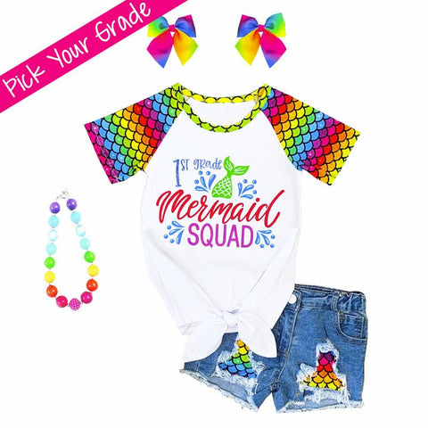 Pick Your Grade Mermaid Squad Outfit Rainbow Top And Shorts