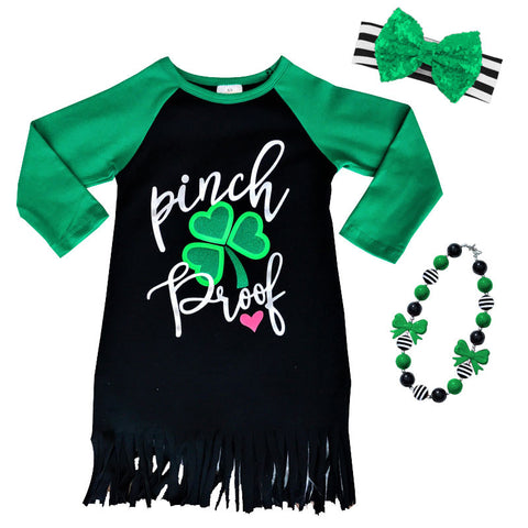 Pinch Proof Green Black Fringe Dress