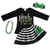 Pinch Proof Outfit Clover Green Gold Stripe Top And Skirt