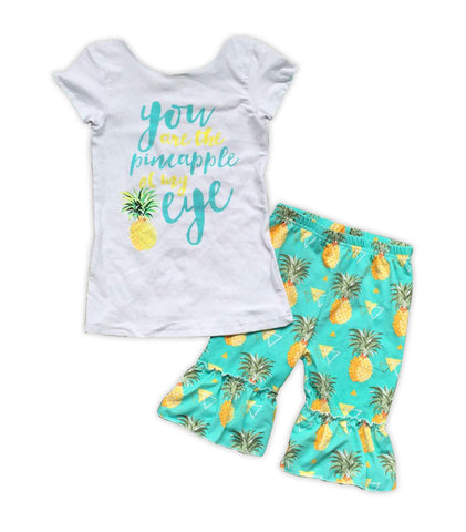 Pineapple Of My Eye Ruffle Baby Doll Capri Set