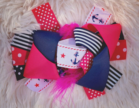 Pink Anchor Polka Hair Bow