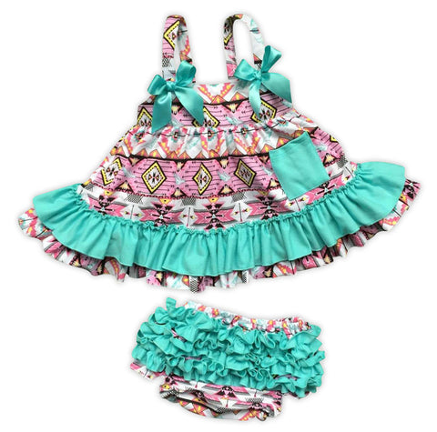 Pink Aztec Teal Ruffle Two Piece