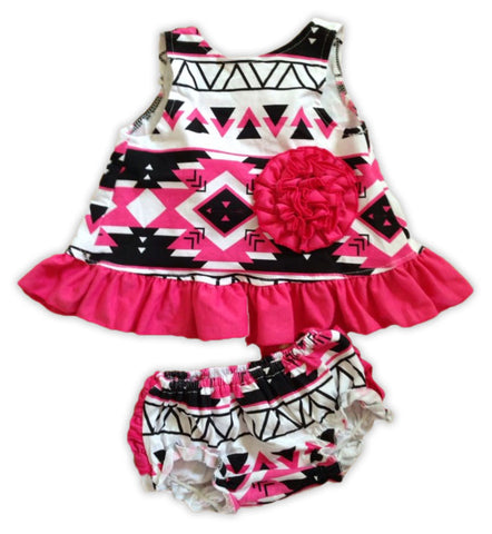 Pink Black Aztec Ruffle Two Piece