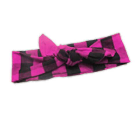 Pink Black Buffalo Plaid Head Wrap