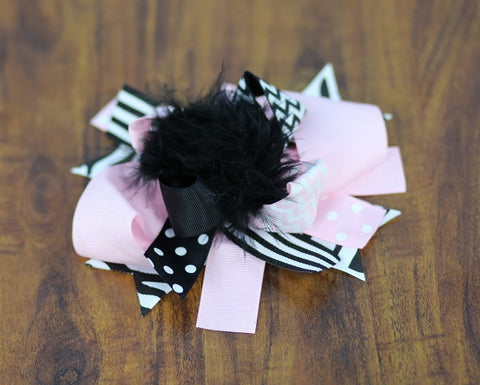 Pink Black Chevron Polka Stripe Bow