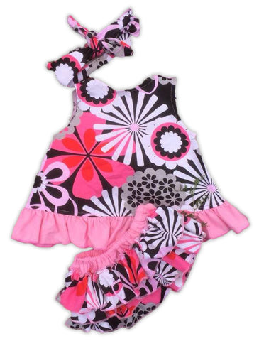 Pink Black Flower Two Piece