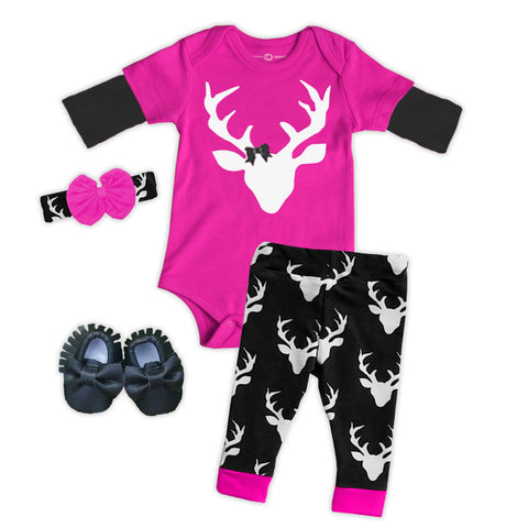 Pink Black Oh Deer Onesie And Pants