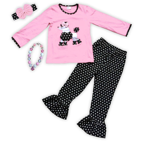 Pink Black Polka Poodle Top Pant Set