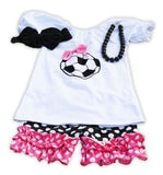 Pink Black Polka Soccer Shorts Set