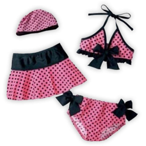 Pink Black Polka Swimsuit Skirt Set