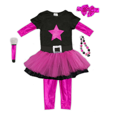 Pink Black Rock Star Tutu Legging Costume