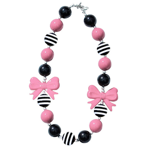 Pink Black Stripe Bow Necklace