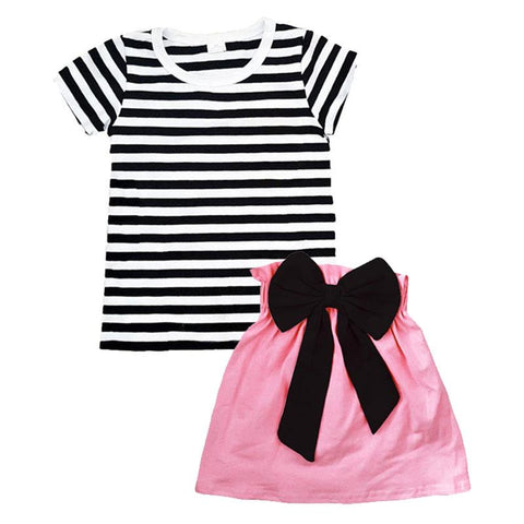 Pink Black Stripe Outfit Black Bow Top And Skirt