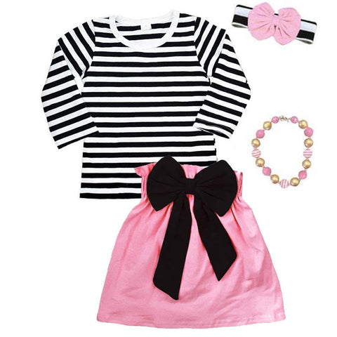 Pink Black Stripe Outfit Black Bow Top And Skirt Long Sleeve