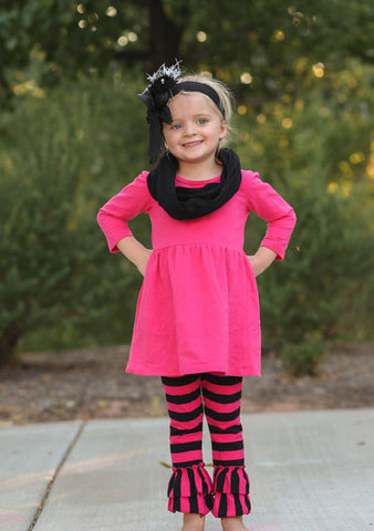 Pink Black Stripe Ruffle Pant Set