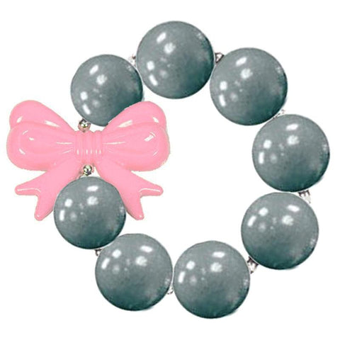 Pink Bow Bracelet Gray Chunky Gumball