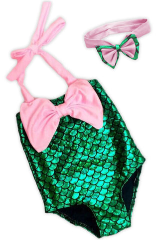 Pink Bow Green Mermaid Swimsuit