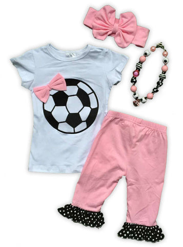 Pink Bow Soccer Ball Capri Set