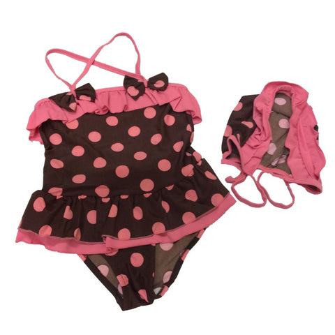 Pink Brown Polka Dot Bow Swimsuit One Piece