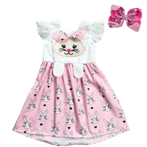 Pink Bunny Face Paws Dress Ruffle Bow