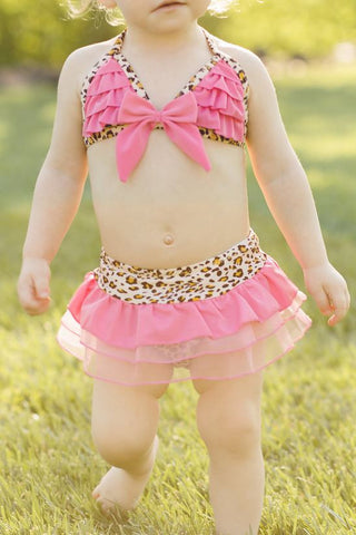 Pink Cheetah Two Piece Swimsuit