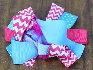 Pink Chevron Blue Bow