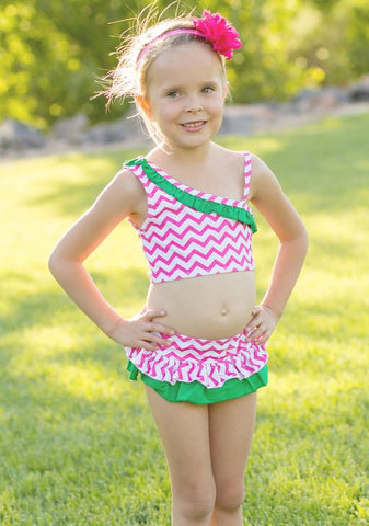 Pink Chevron Green Two Piece Swimsuit