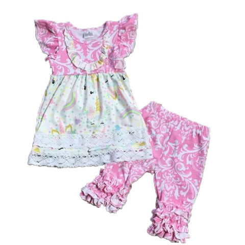 Pink Damask Unicorn Outfit Ruffle Top And Capri