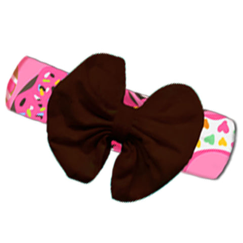 Pink Donut Brown Messy Bow Headband