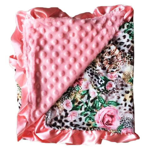 Pink Floral Jungle Minky Blanket
