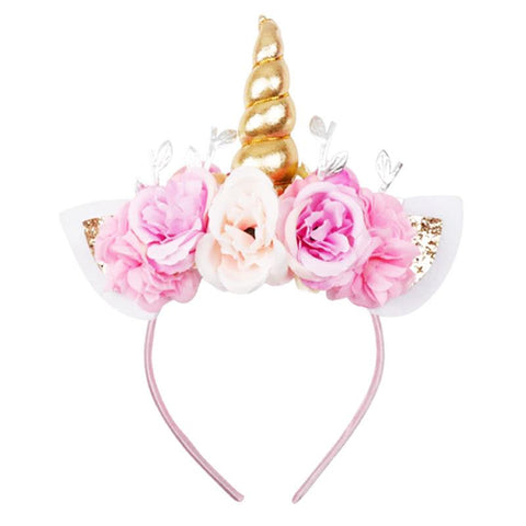 Pink Flower Gold Sparkle Unicorn Headband
