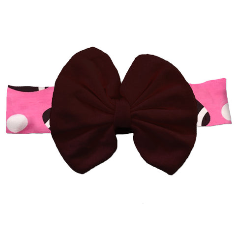 Pink Football Brown Messy Bow Headband
