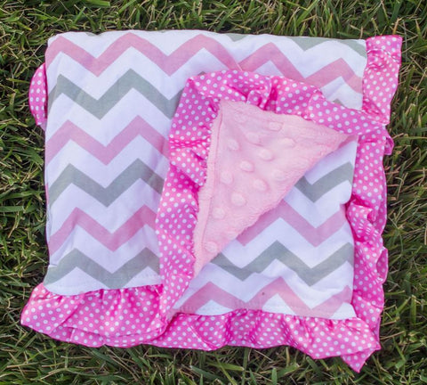 Pink Gray Chevron Dots Pink Minky Blanket