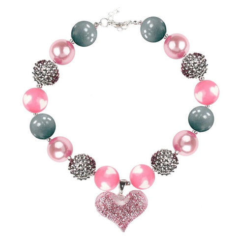 Pink Gray Heart Necklace Silver Chunky Gumball Sparkle