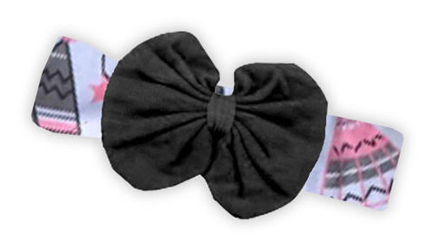 Pink Gray Teepee Black Messy Bow Headband