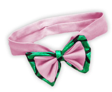Pink Green Mermaid Bow Headband
