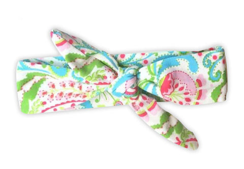 Pink Green Paisely Head Wrap