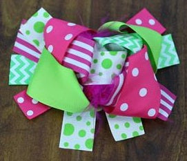 Pink Green Polka Stripe Bow