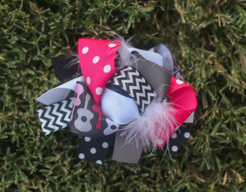 Pink Guitar Black Chevron Bow