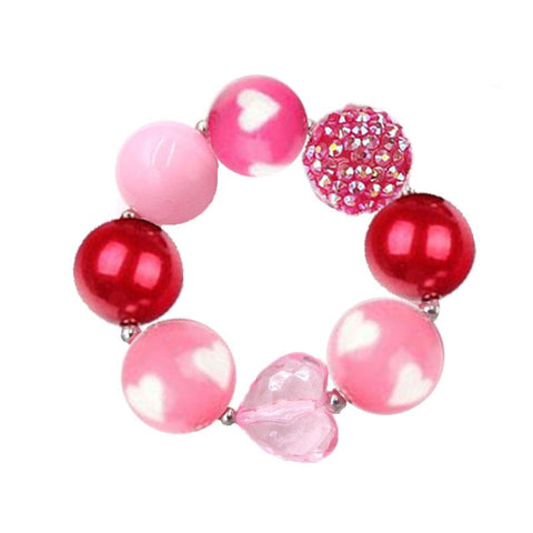 Pink Heart Bracelet Pearl Chunky Gumball Sparkle