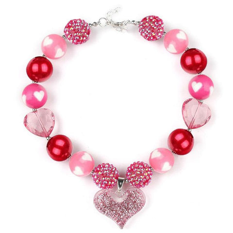 Pink Heart Necklace Pearl Chunky Gumball Sparkle