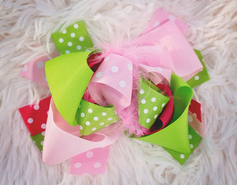 Pink Lime Polka Hair Bow