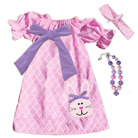 Pink Moroccan Purple Bow Bunny Dress