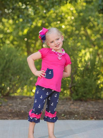 Pink Navy Anchor Capri Set