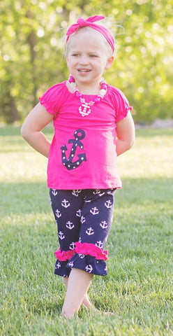 Pink Navy Polka Anchor Capri Set
