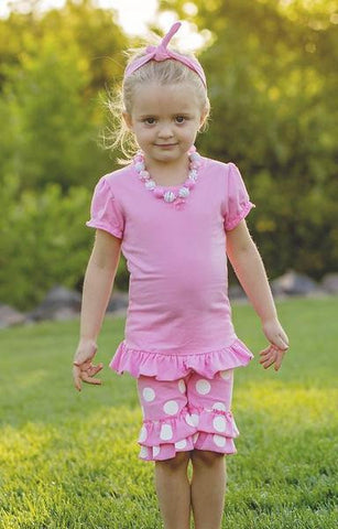 Pink Polka Shorts Set